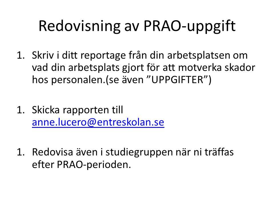 Redovisning av PRAO-uppgift