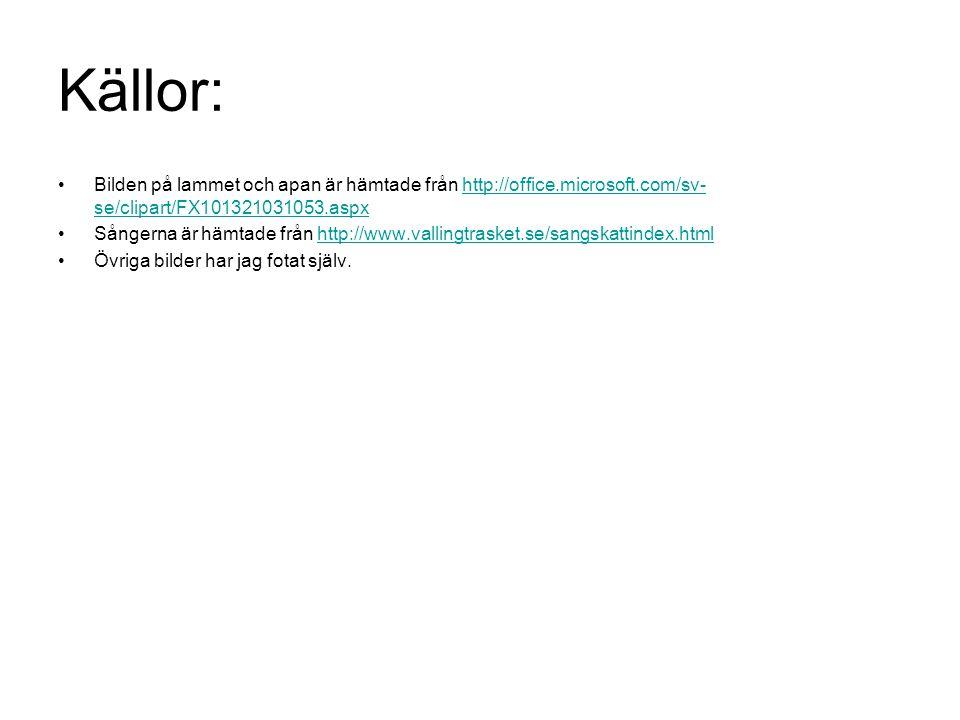 Källor: Bilden på lammet och apan är hämtade från http://office.microsoft.com/sv-se/clipart/FX101321031053.aspx.
