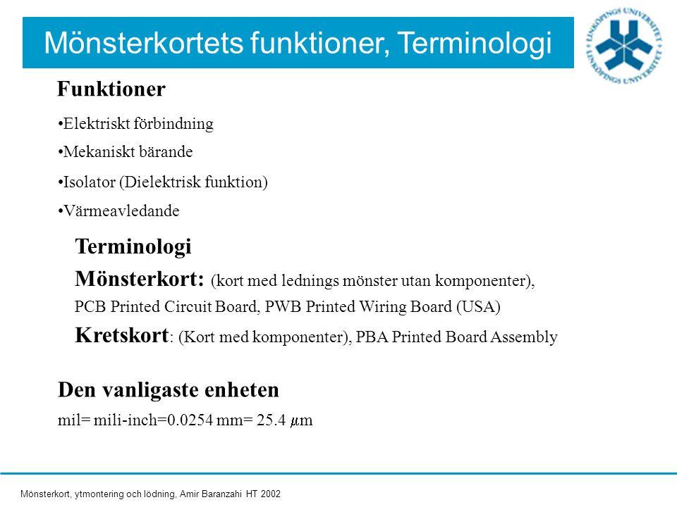 Mönsterkortets funktioner, Terminologi