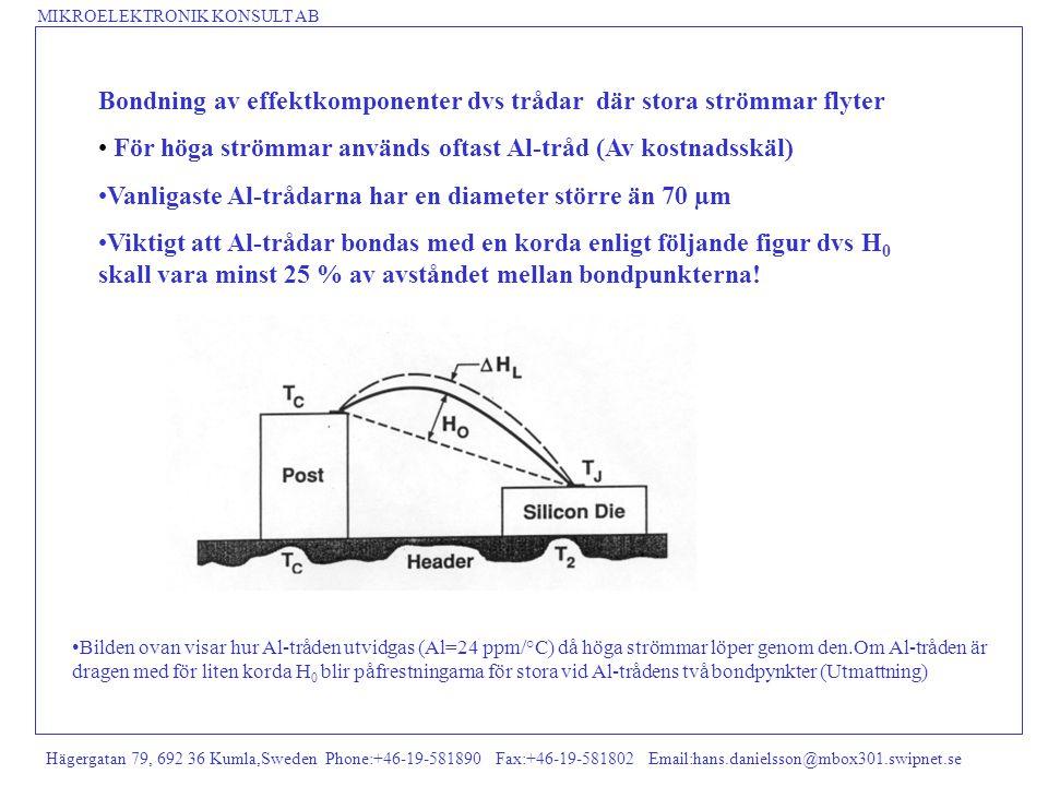 Bondning av effektkomponenter dvs trådar där stora strömmar flyter