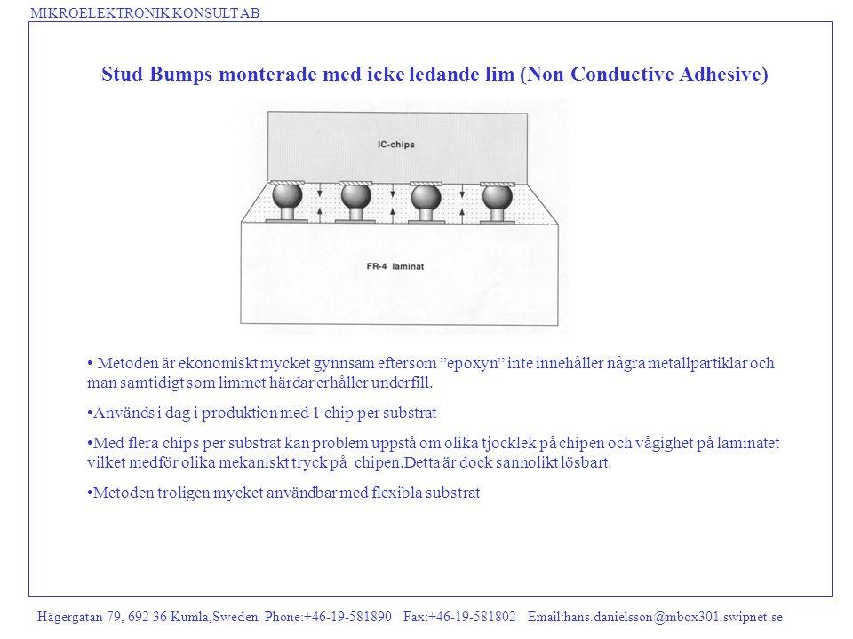 Stud Bumps monterade med icke ledande lim (Non Conductive Adhesive)