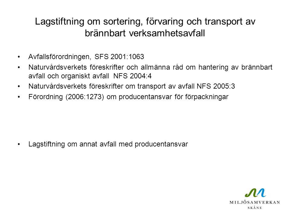 Lagstiftning om sortering, förvaring och transport av brännbart verksamhetsavfall