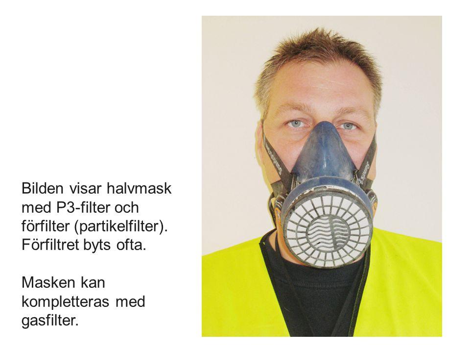 Bilden visar halvmask med P3-filter och förfilter (partikelfilter)