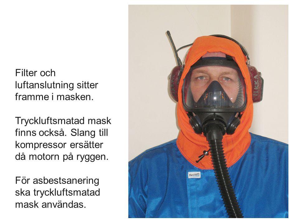 Filter och luftanslutning sitter framme i masken
