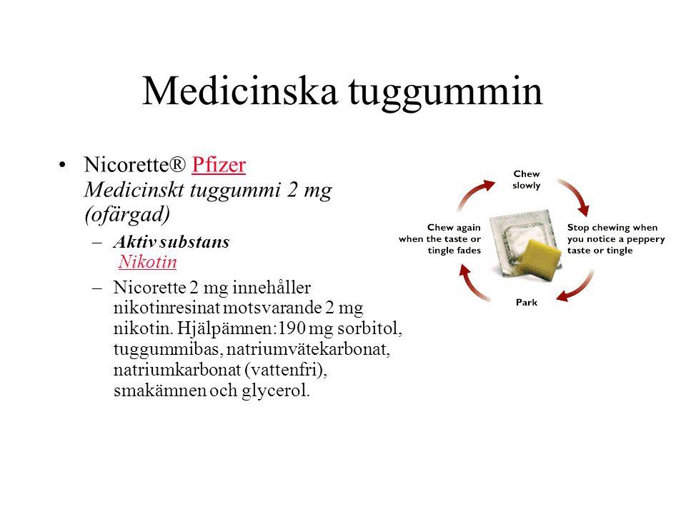 Medicinska tuggummin Nicorette® Pfizer Medicinskt tuggummi 2 mg (ofärgad) Aktiv substans Nikotin.