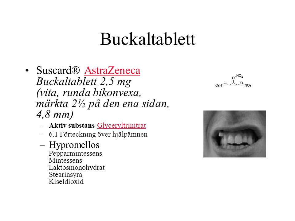 Buckaltablett Suscard® AstraZeneca Buckaltablett 2,5 mg (vita, runda bikonvexa, märkta 2½ på den ena sidan, 4,8 mm)
