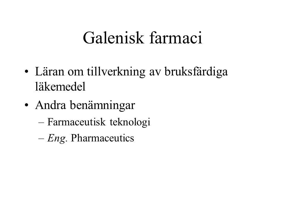 Galenisk farmaci Läran om tillverkning av bruksfärdiga läkemedel