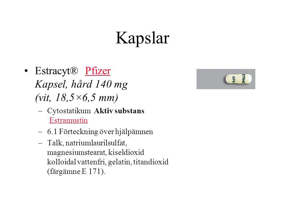 Kapslar Estracyt® Pfizer Kapsel, hård 140 mg (vit, 18,5×6,5 mm)