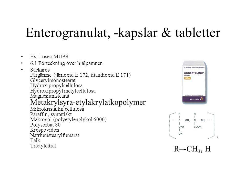 Enterogranulat, -kapslar & tabletter