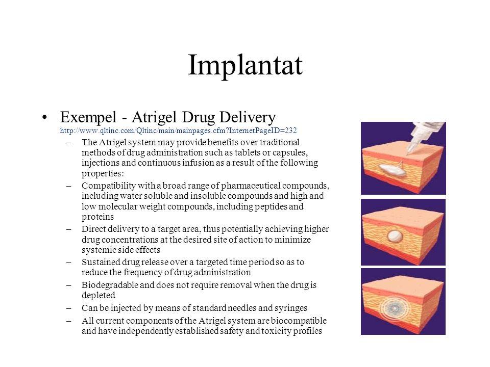 Implantat Exempel - Atrigel Drug Delivery http://www.qltinc.com/Qltinc/main/mainpages.cfm InternetPageID=232.