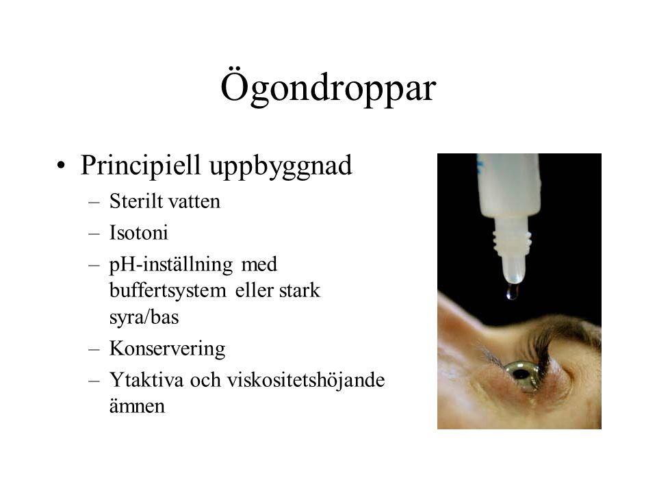 Ögondroppar Principiell uppbyggnad Sterilt vatten Isotoni
