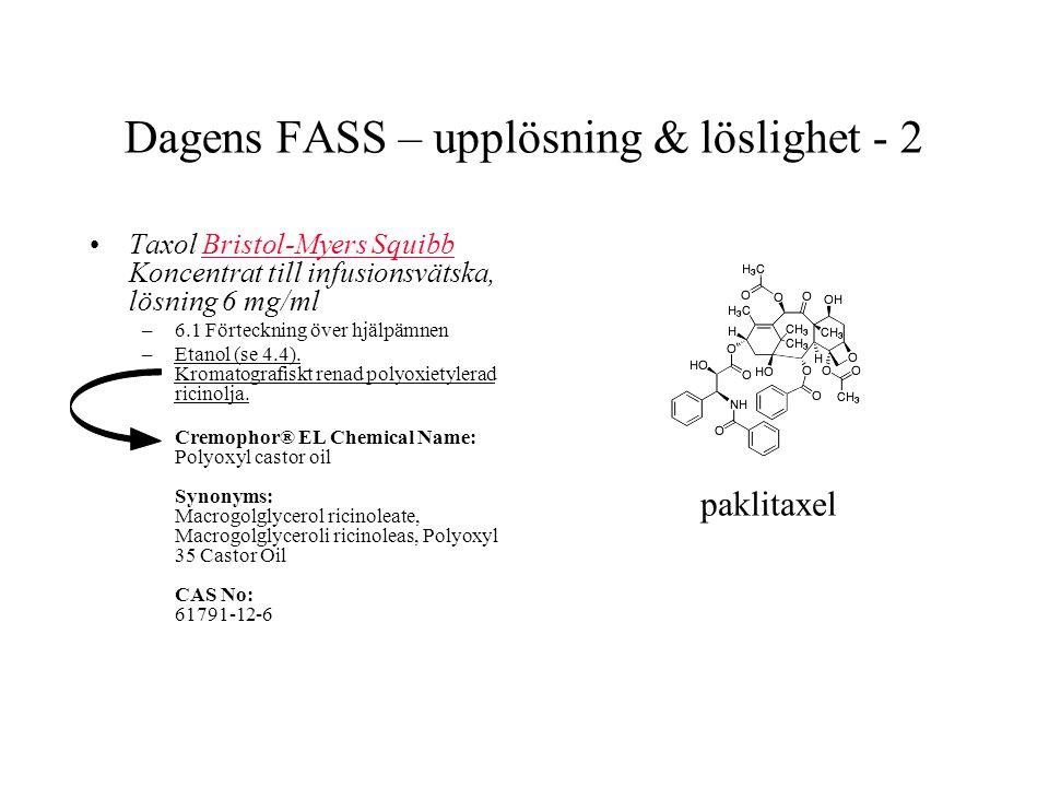 Dagens FASS – upplösning & löslighet - 2