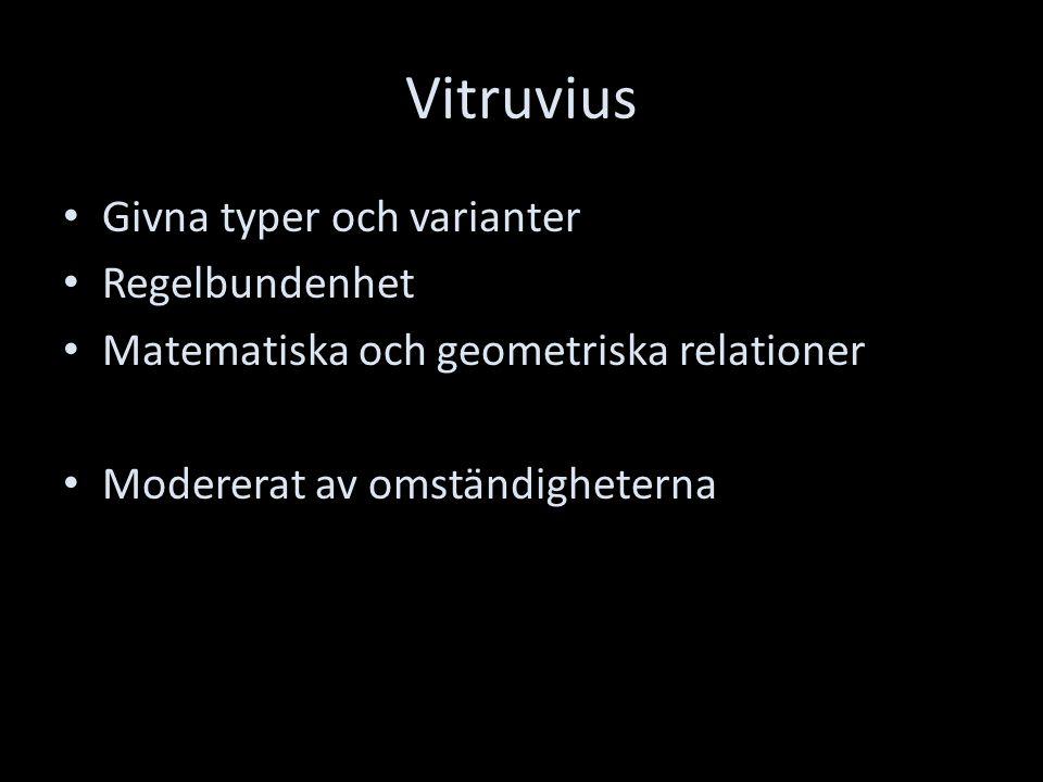 Vitruvius Givna typer och varianter Regelbundenhet