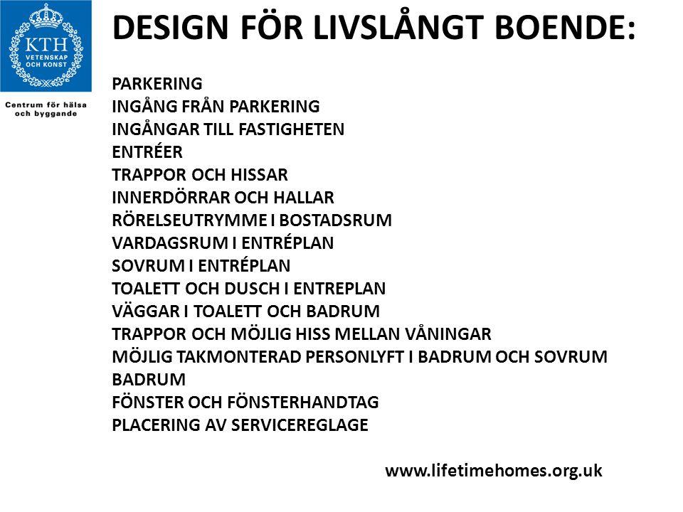 DESIGN FÖR LIVSLÅNGT BOENDE:
