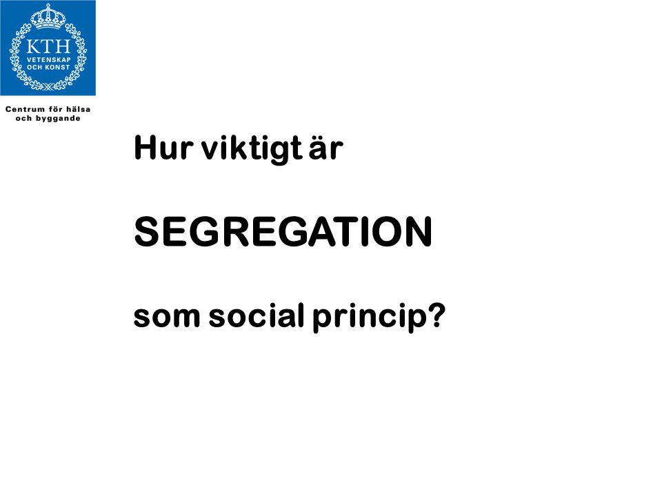 Hur viktigt är SEGREGATION som social princip