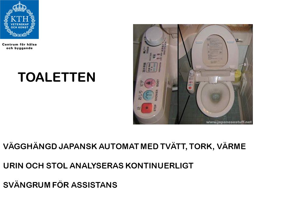 TOALETTEN VÄGGHÄNGD JAPANSK AUTOMAT MED TVÄTT, TORK, VÄRME