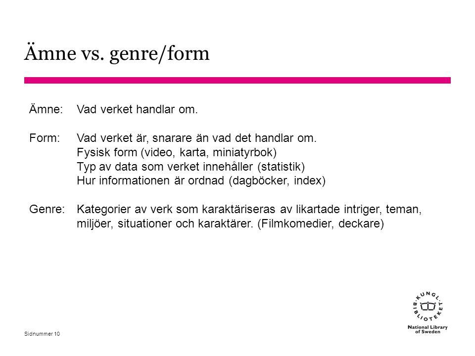 Ämne vs. genre/form Ämne: Vad verket handlar om.