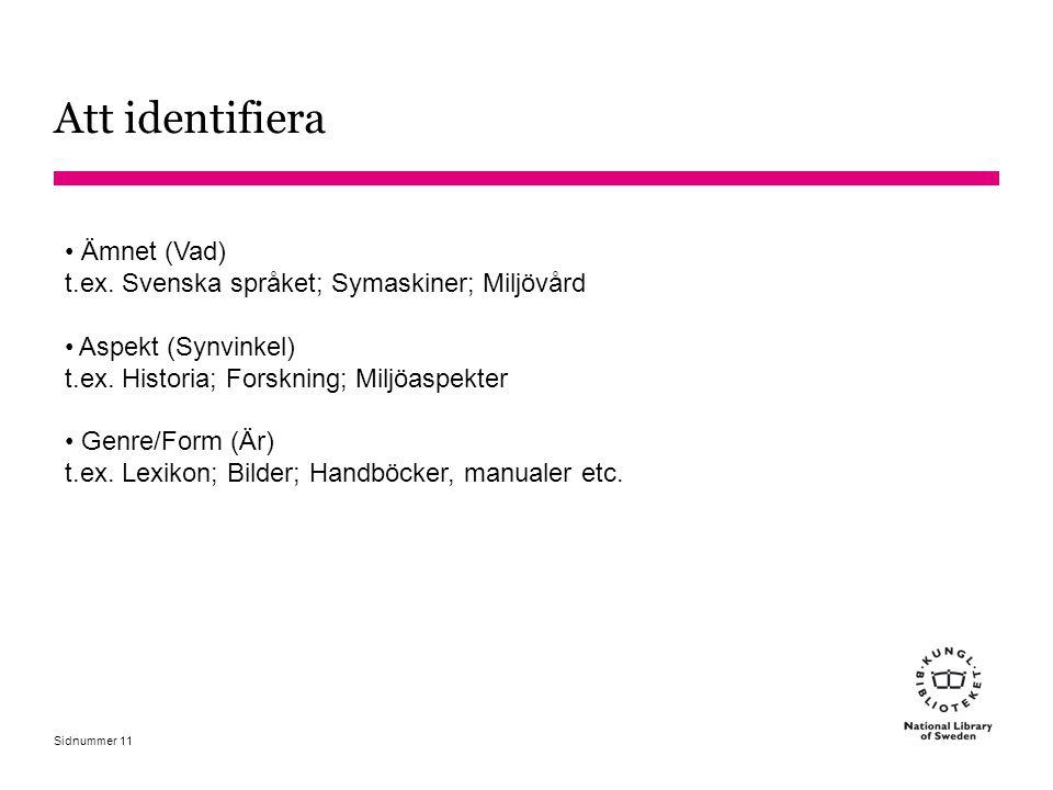 Att identifiera Ämnet (Vad) t.ex. Svenska språket; Symaskiner; Miljövård. Aspekt (Synvinkel) t.ex. Historia; Forskning; Miljöaspekter.