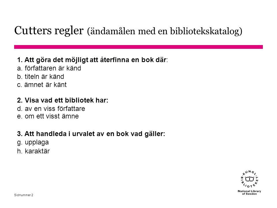 Cutters regler (ändamålen med en bibliotekskatalog)