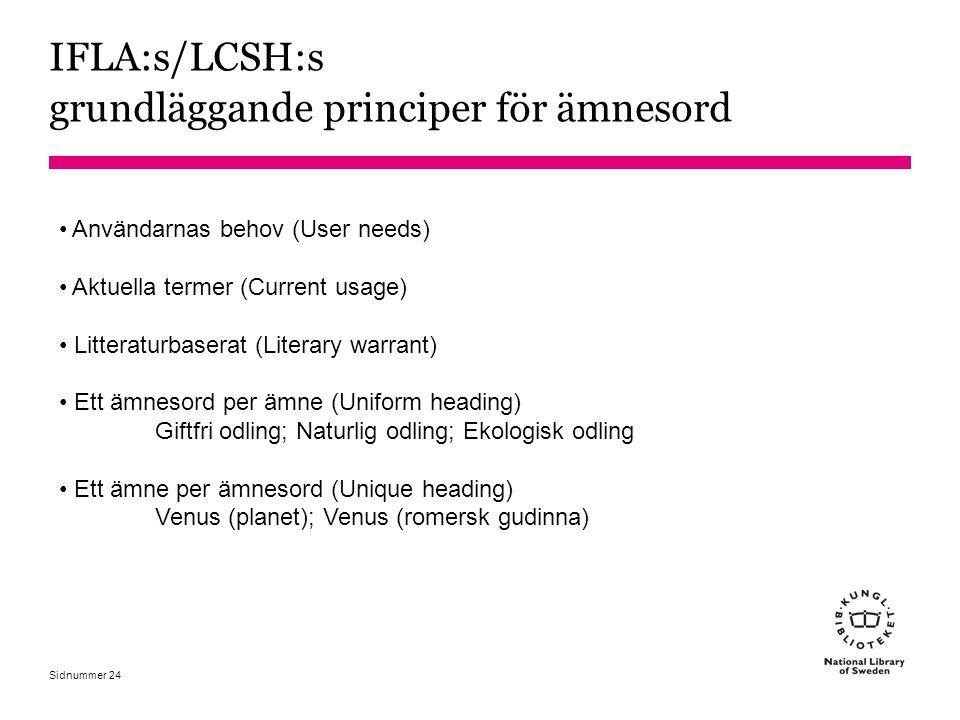 IFLA:s/LCSH:s grundläggande principer för ämnesord