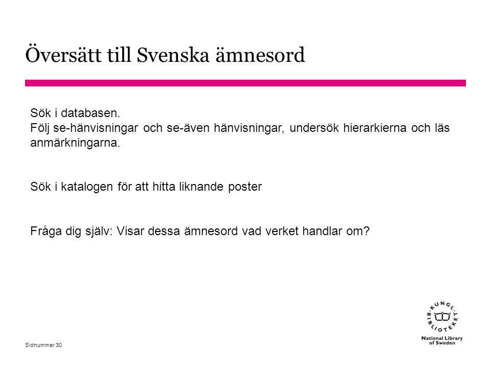 Översätt till Svenska ämnesord