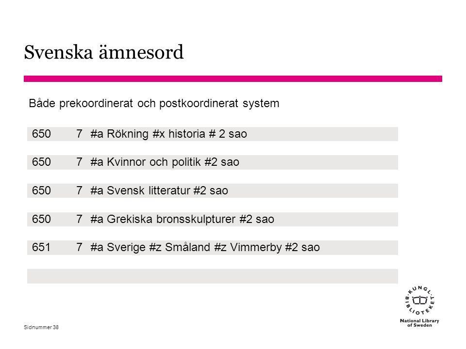 Svenska ämnesord Både prekoordinerat och postkoordinerat system 650 7