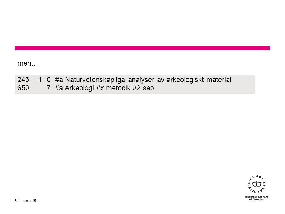 men… 245. 1. #a Naturvetenskapliga analyser av arkeologiskt material.