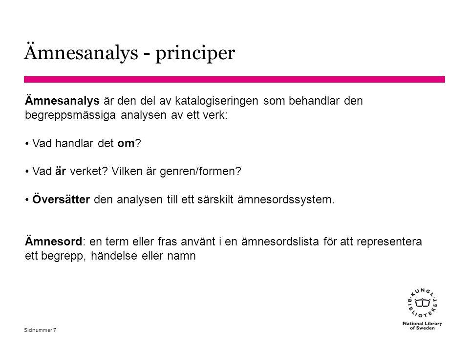 Ämnesanalys - principer