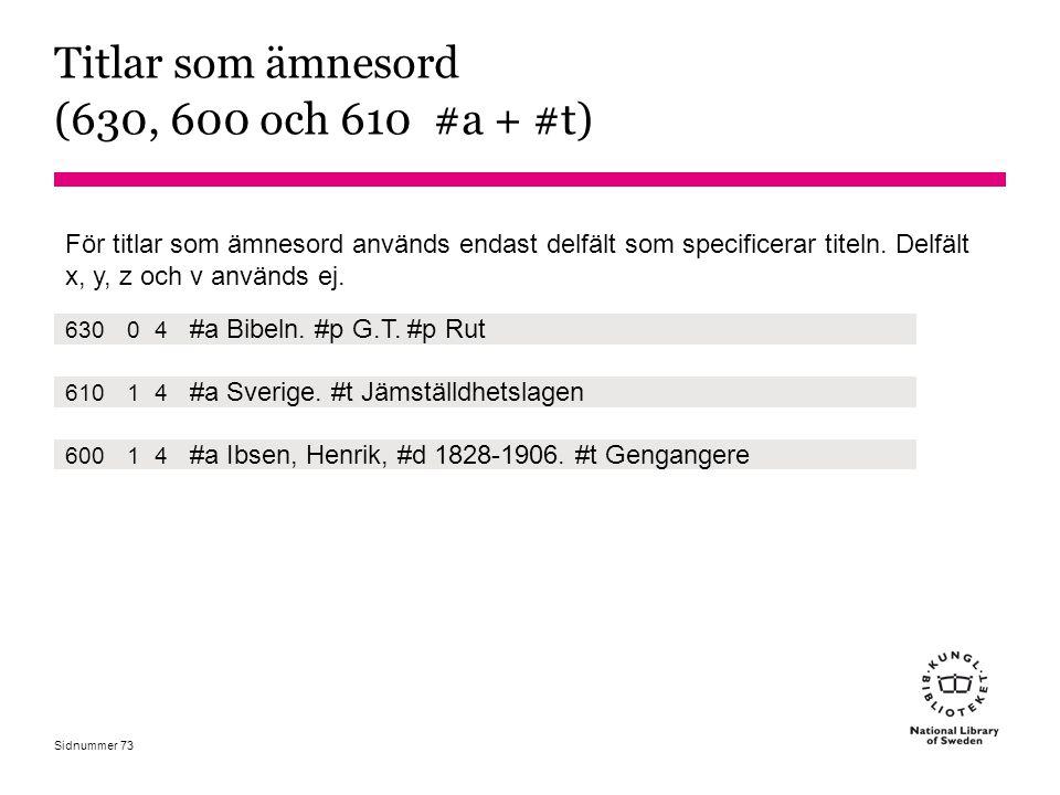 Titlar som ämnesord (630, 600 och 610 #a + #t)