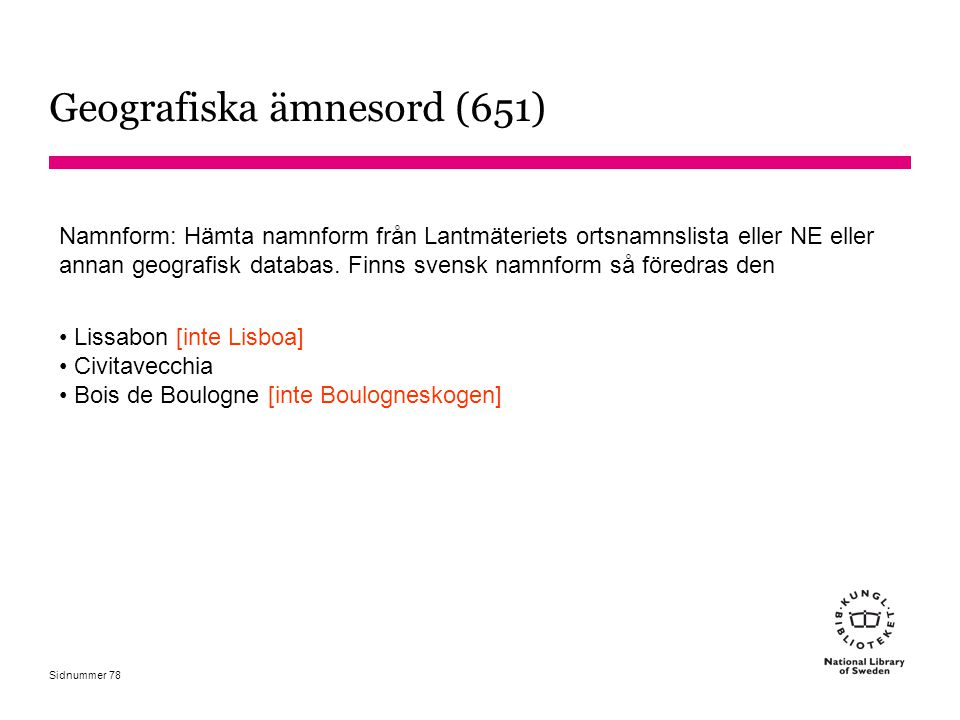 Geografiska ämnesord (651)