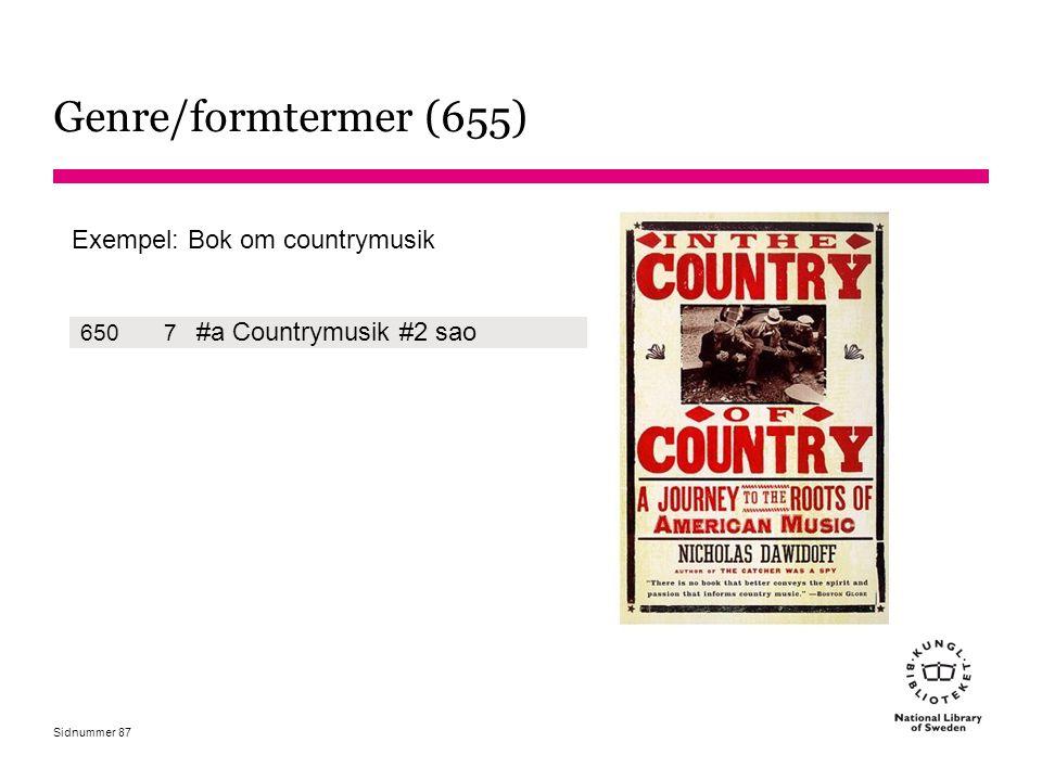 Genre/formtermer (655) #a Countrymusik #2 sao