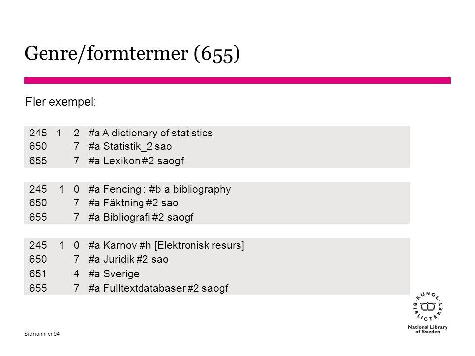 Genre/formtermer (655) Fler exempel: 245 1 2