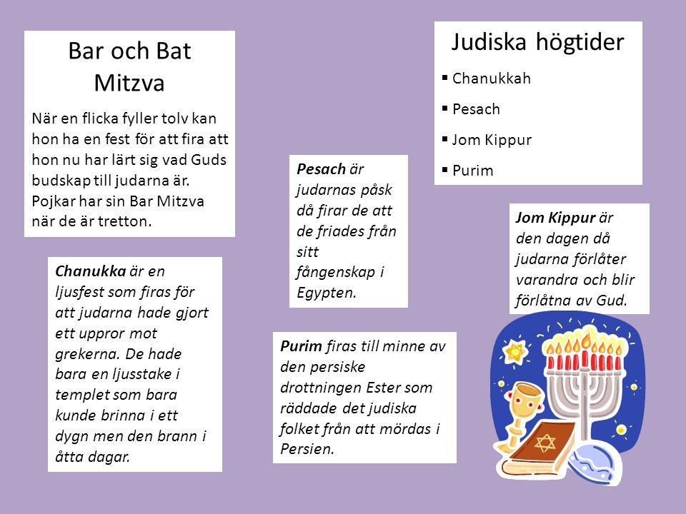 Judiska högtider Bar och Bat Mitzva Chanukkah Pesach