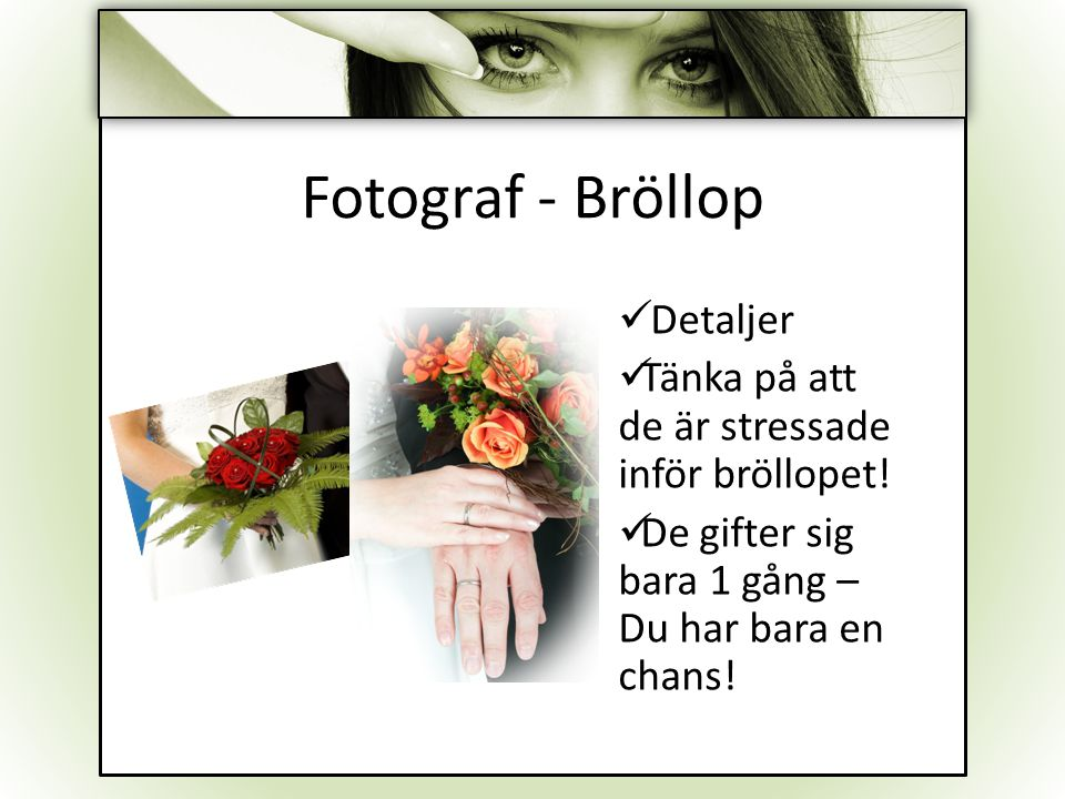 Fotograf - Bröllop Detaljer