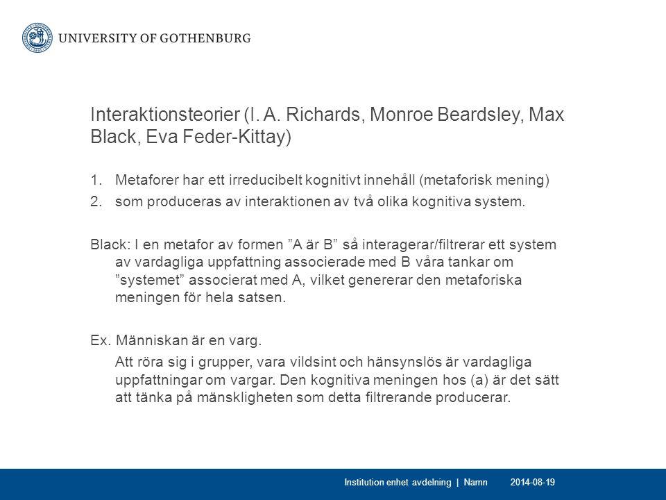 Interaktionsteorier (I. A