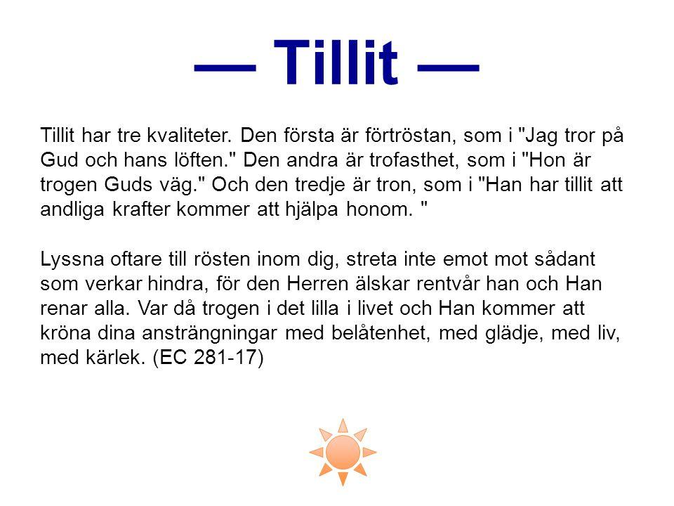 — Tillit —