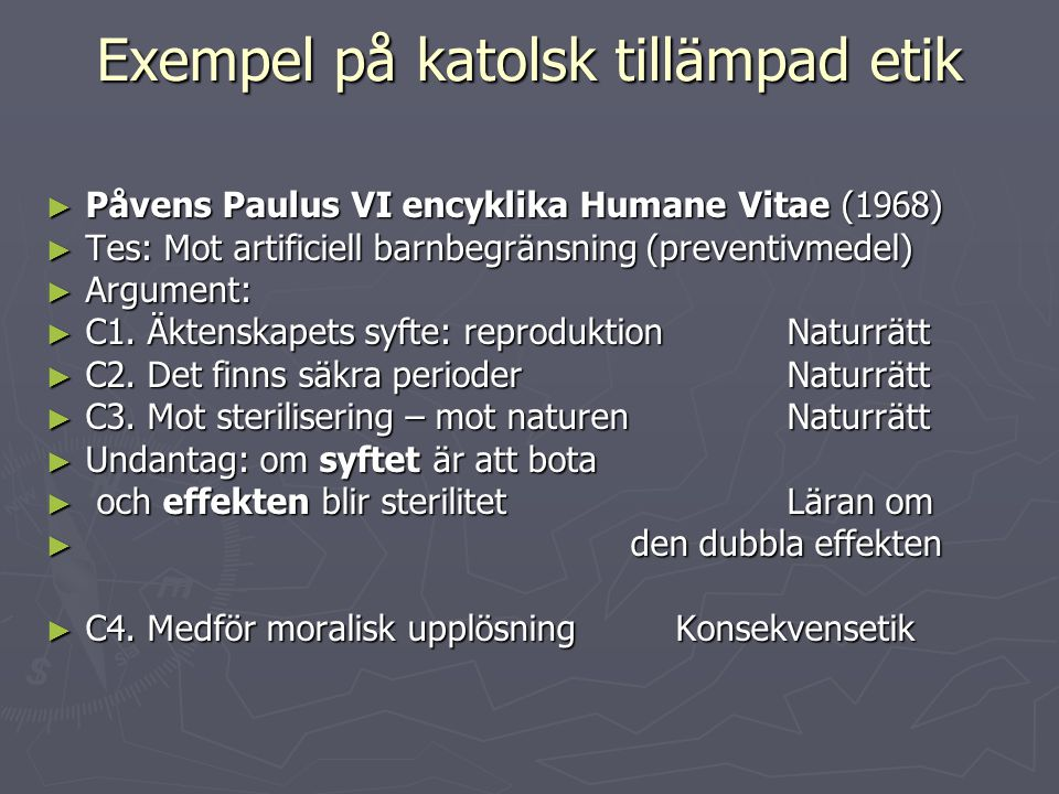 Exempel på katolsk tillämpad etik