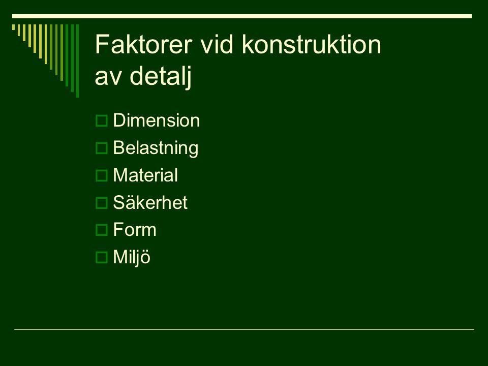 Faktorer vid konstruktion av detalj