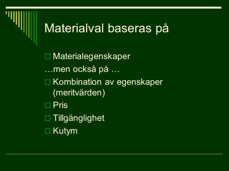 Materialval baseras på