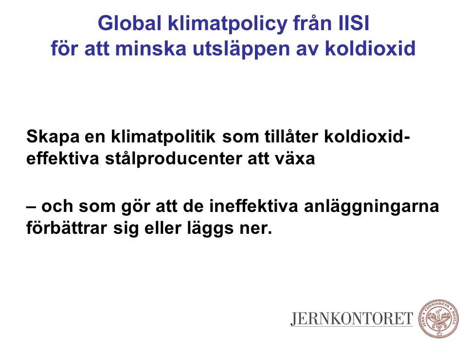 Global klimatpolicy från IISI för att minska utsläppen av koldioxid