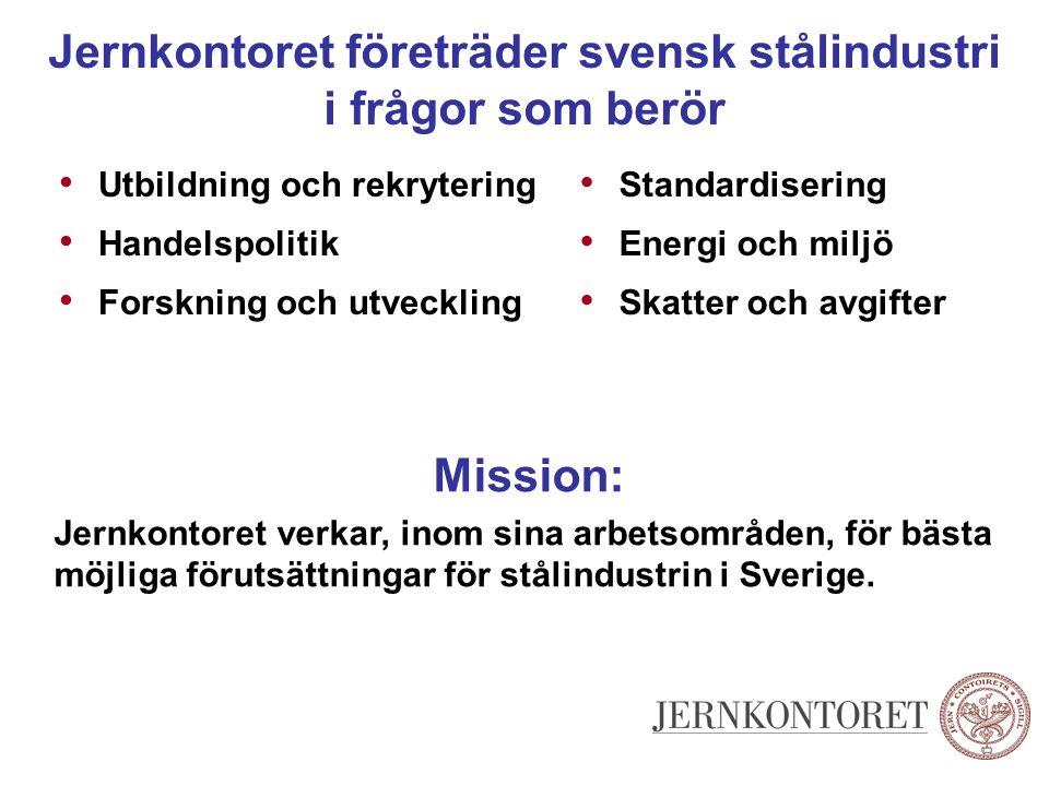 Jernkontoret företräder svensk stålindustri i frågor som berör