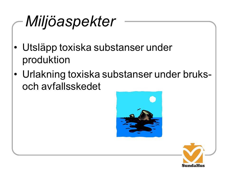 Miljöaspekter Utsläpp toxiska substanser under produktion