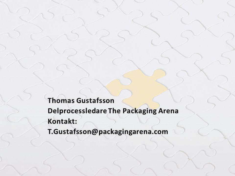 Thomas Gustafsson Delprocessledare The Packaging Arena Kontakt: T.Gustafsson@packagingarena.com
