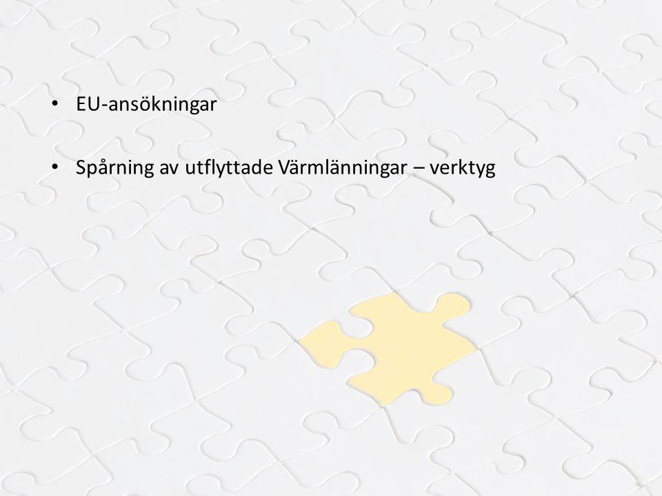 EU-ansökningar Spårning av utflyttade Värmlänningar – verktyg