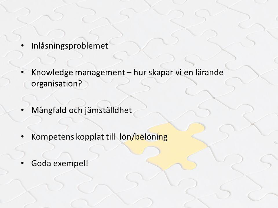 Inlåsningsproblemet Knowledge management – hur skapar vi en lärande organisation Mångfald och jämställdhet.