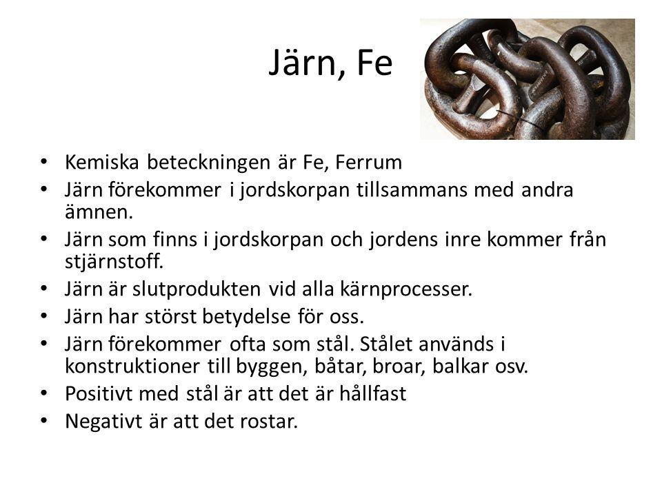Järn, Fe Kemiska beteckningen är Fe, Ferrum