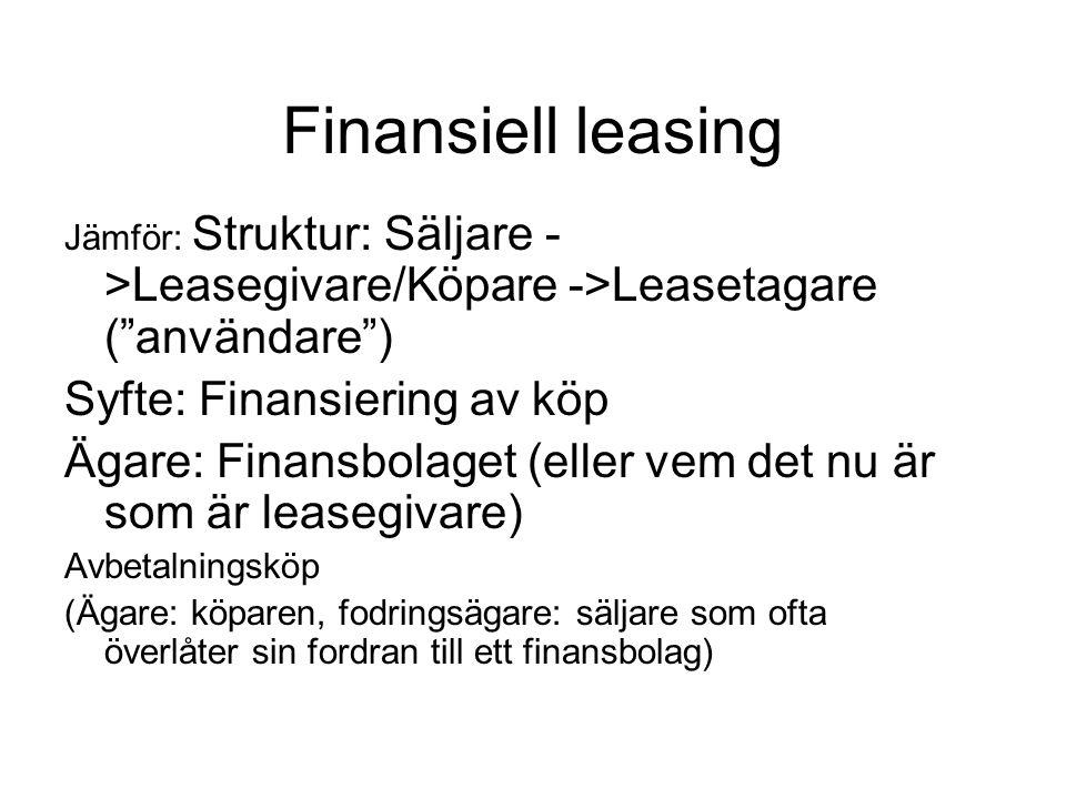 Finansiell leasing Syfte: Finansiering av köp