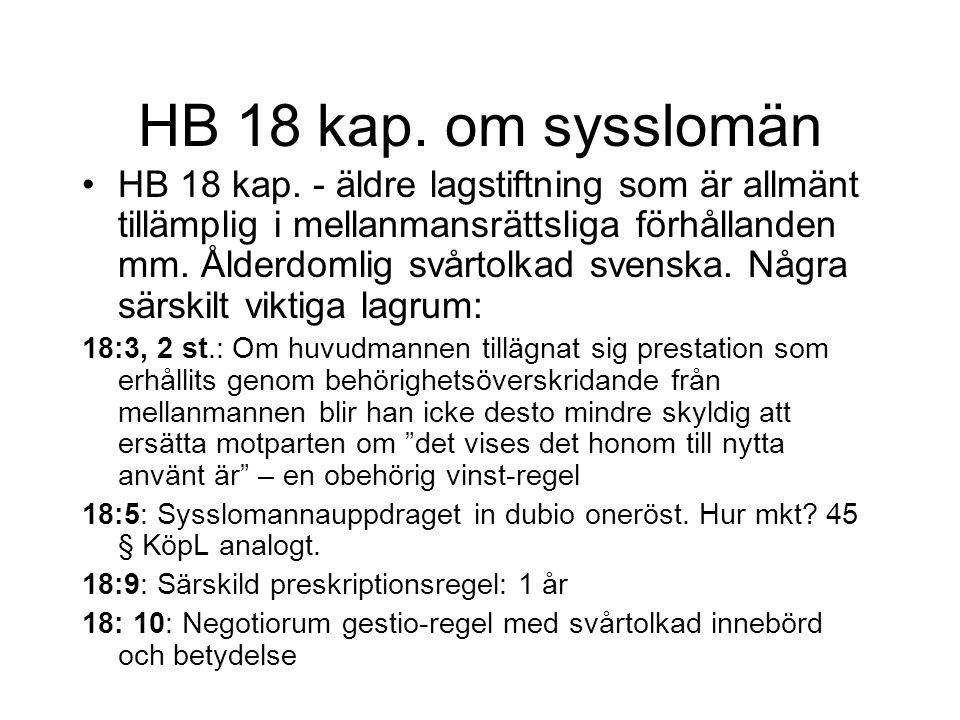 HB 18 kap. om sysslomän