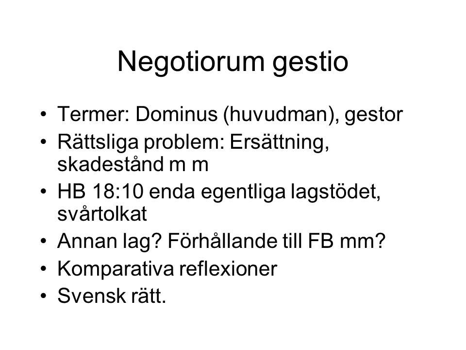 Negotiorum gestio Termer: Dominus (huvudman), gestor