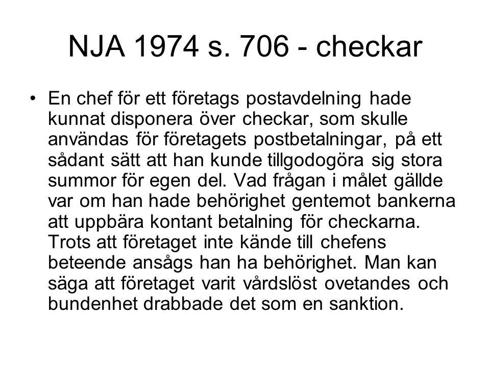 NJA 1974 s. 706 - checkar